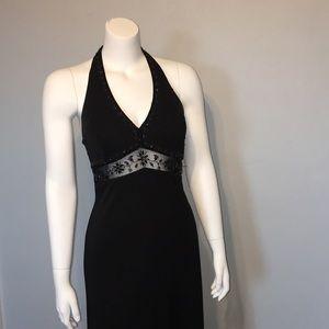 NWT Halter Floor Length Beaded Cut Out Dress